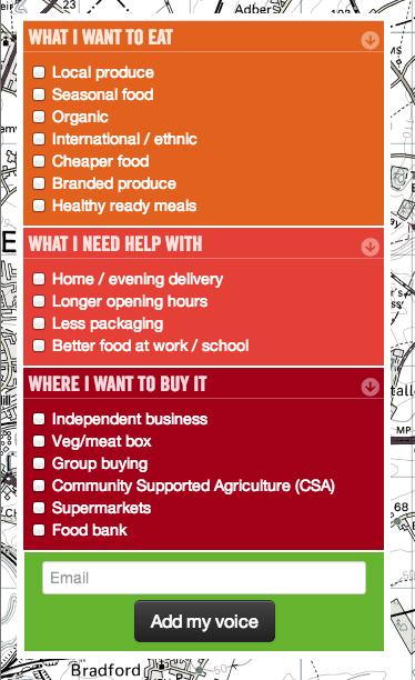 Image of Options on I want better food website