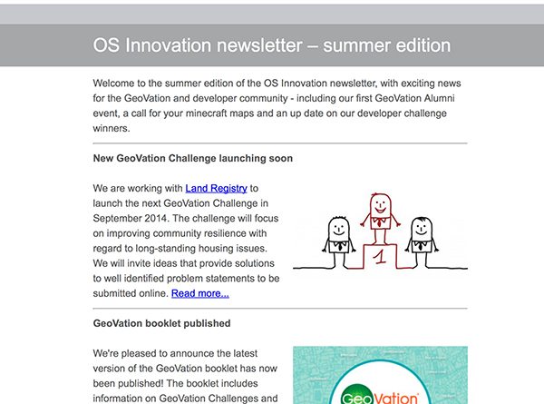 Newsletter screen grab