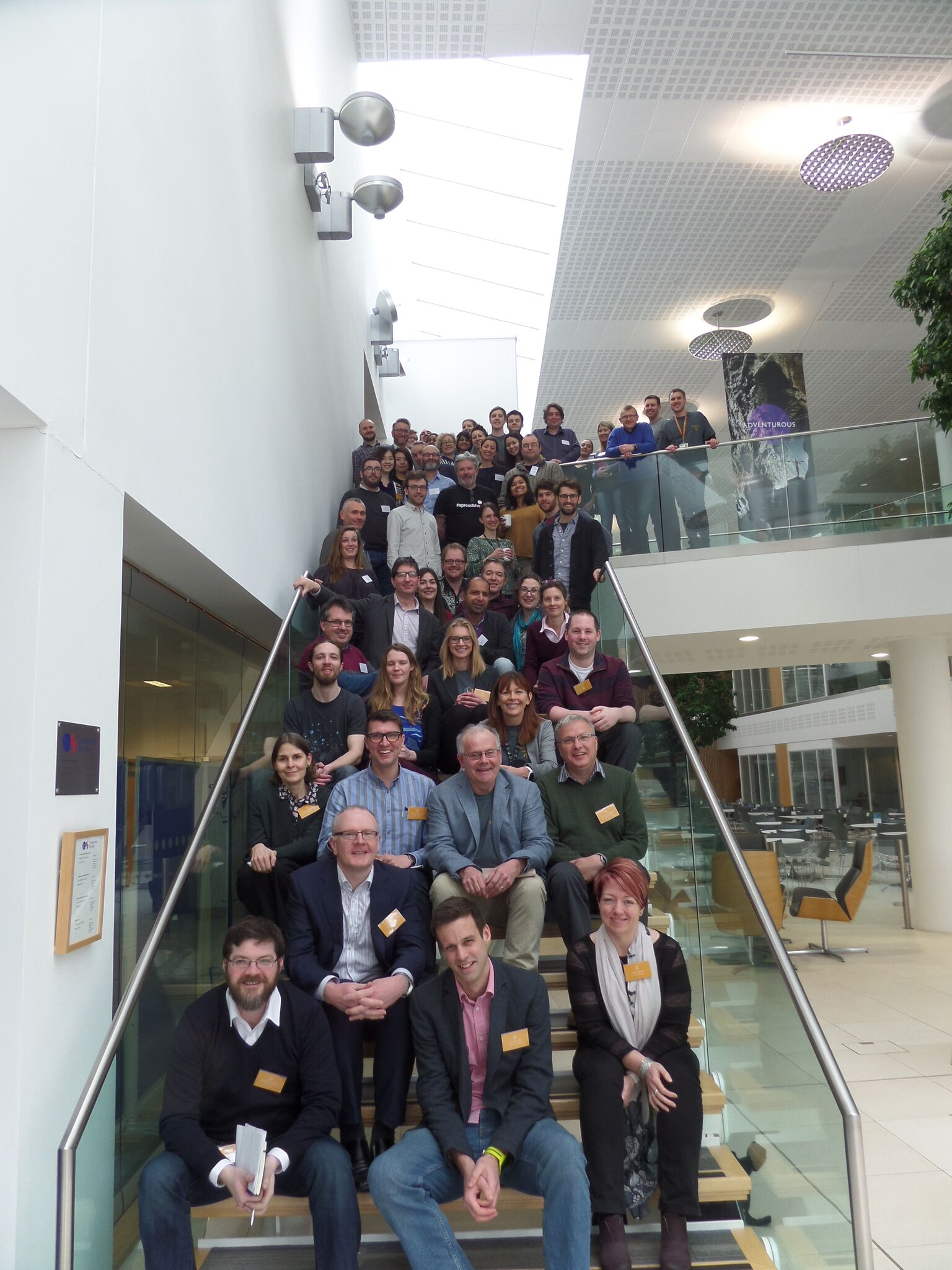 Geovation Camp team sitting on the stairs at Ordnance Survey HQ