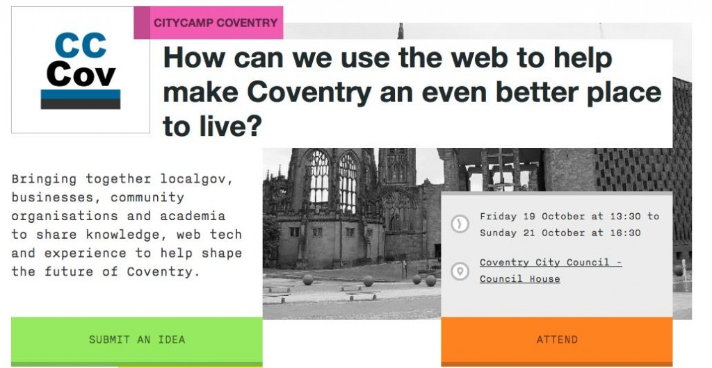 Image of CityCamp Coventry webpage