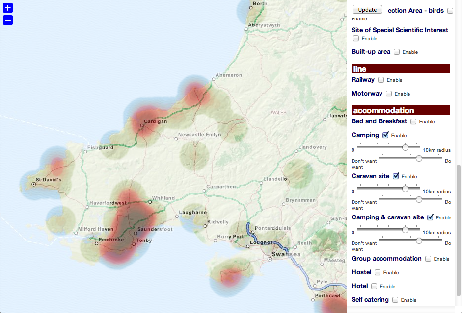 Image showing heat map of areas with campsites