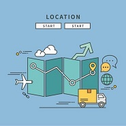 Location technology cartoon images plan, van, clouds, messaging icons