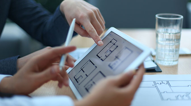 Property plans being shown on iPad